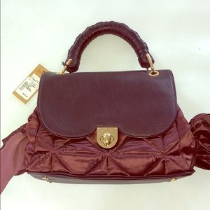 Zac Posen Leather and Satin Satchel with Bows